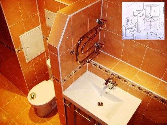 Інтерєр ванної кімнати поєднаної з туалетом
