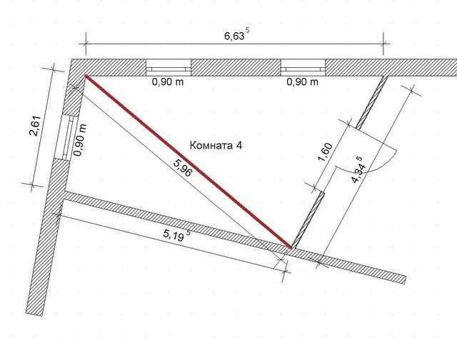 Калькулятор розрахунку площі трикутного приміщення
